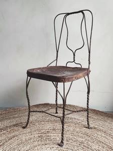 Bilde av Vintage Brun Metall Stol No.3