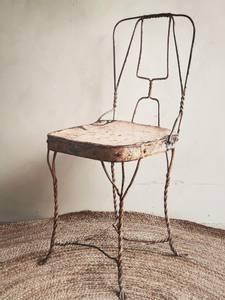 Bilde av Vintage Brun Metall Stol No.5